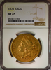 1871-S $20 Gold Liberty NGC XF45 Double Eagle