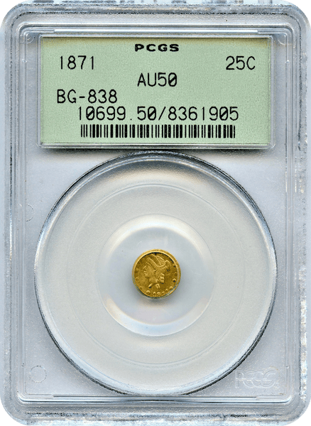 1871 California Fractional 25c BG-838 PCGS AU50