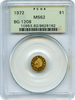 1872 Cal Gold Token $1.00 Octagonal Indian PCGS MS62