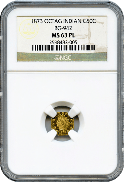 1873 Cal Gold 50c BG-942 Octagonal Large Head Indian NGC MS63PL