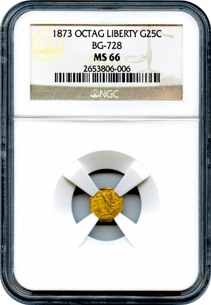 (84) 1873 California Fractional 25c BG-728 Octagonal Liberty NGC MS66