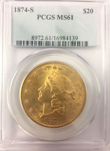 1874-S $20 Gold Liberty PCGS MS61