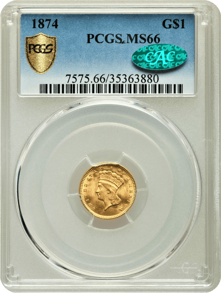 1874 G$1 Indian Princess Dollar PCGS MS66 CAC