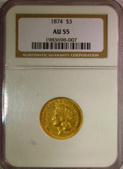 1874 $3.00 Indian Princess NGC AU 55
