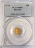 "1874 California Gold 50c BG-1055 PCGS MS62 Round Large Head Indian ""C.Morigh S.F."""