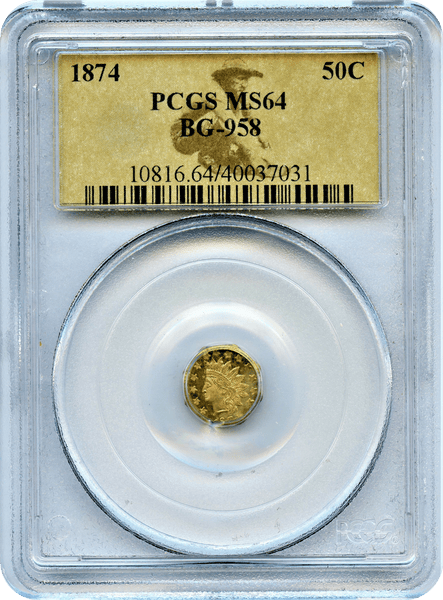 1874 California Fractional Gold 50c BG-958 PCGS MS64 Octagonal Large Head Indian HR6