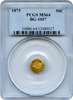 1875 Cal Gold 50c BG-1057 Round Large Head Indian PCGS MS64