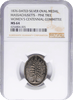 1876 Massachusetts American Independence Centennial Medal.  Silver oval, Julian CM-38. NGC MS64