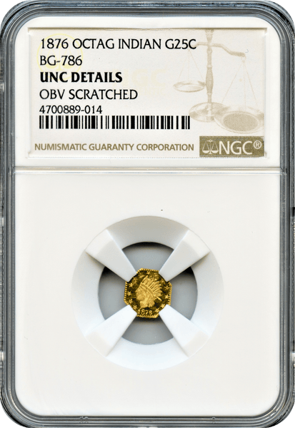 1876 California Fractional Octagonal Indian 25c BG-786 NGC Unc Details