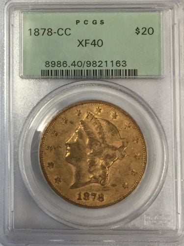 1878-CC $20.00 Gold Liberty PCGS XF40 (OLD GREEN HOLDER)