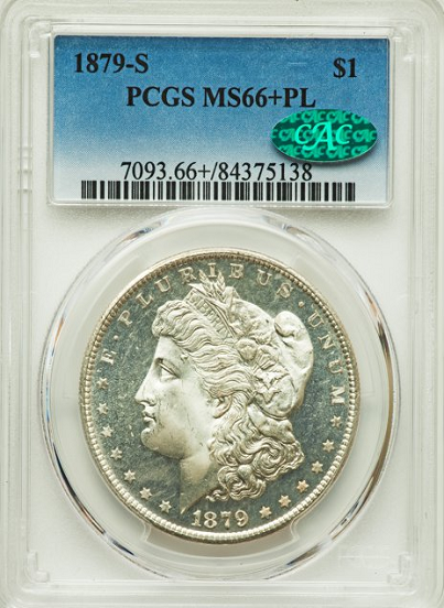 "1879-S Morgan Silver $1.00 ""CAC""  PCGS MS66+PL"