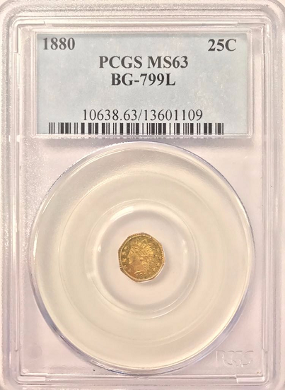 1880 25C California Fractional Oct.Indian 25 Cents, BG-799L, High R.5 PCGS MS63