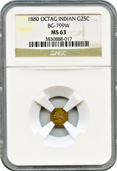 "1880 California Gold 25c BG-799W Octagonal Aztec Head NGC MS63. HR6. ""Rarest of the Aztec Heads"" "" F.H. Noble, Assayer"""