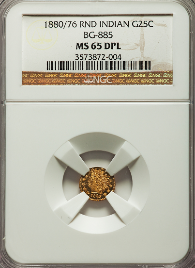 1880/76 Cal Gold 25c BG-885 Round Large Head Indian NGC MS65DPL