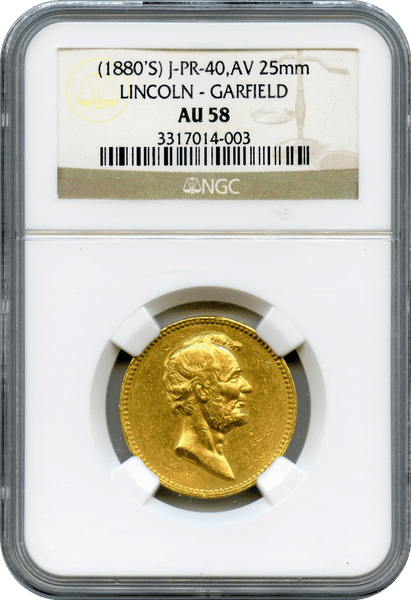 U.S. Mint (1882) Lincoln-Garfield Gold Medal NGC AU58. Julian PR-40