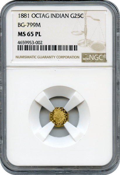 1881 Cal Gold 25c BG-799M  Octagonal Large Head Indian NGC MS65PL  C.Mohrig S.F.