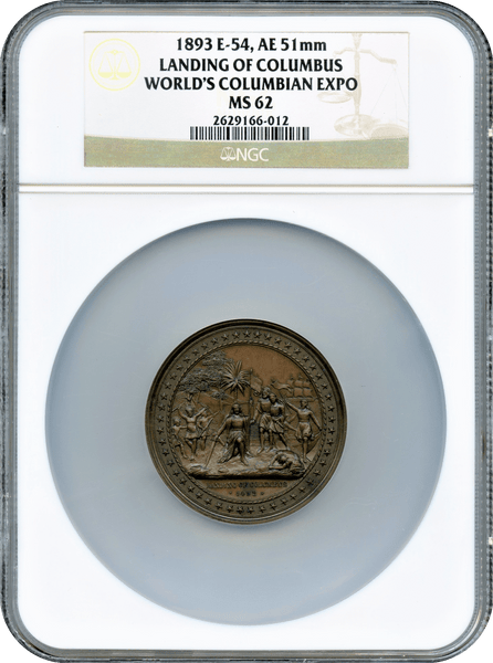 1893 E-54, AE 51mm. Landing of Columbus World's Columbian Expo NGC MS62