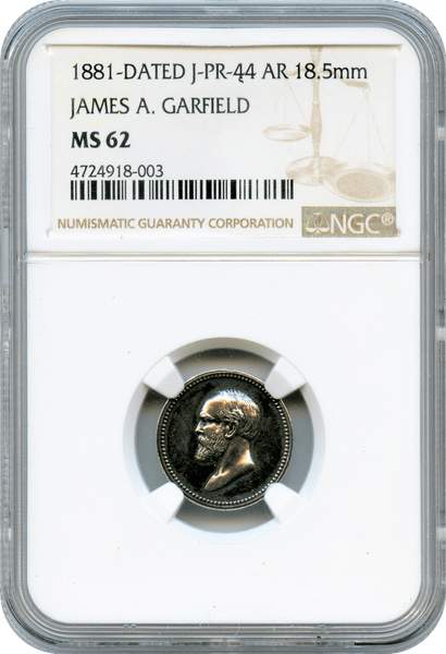 1881 Julian PR-44. Silver. James Garfield NGC MS62