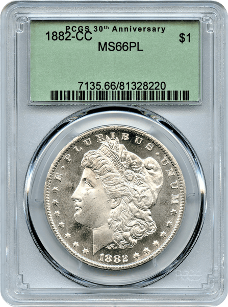 1882-CC Morgan Silver $1.00 Only 1 Coin 1 Grade Higher in PL at PCGS. White