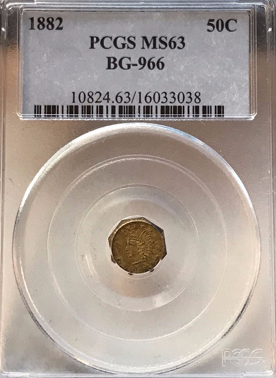 1882 California Fractional Gold 50c PCGS MS63 Very Rare BG-966 HIGH RARITY 7