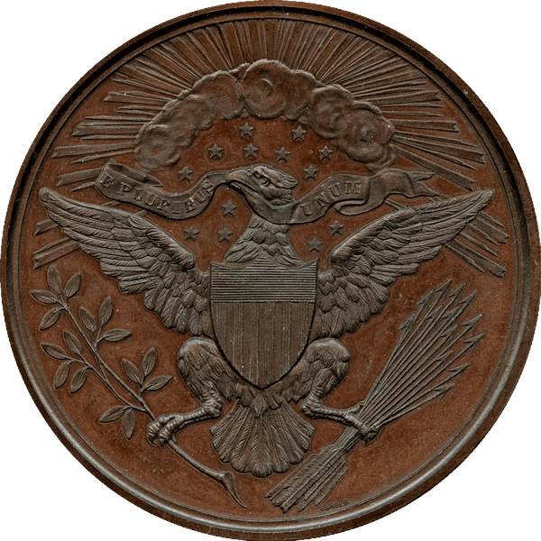 1882 Great Seal Centennial Medal. Bronzed Copper. 62.5 mm. By Charles E. Barber. Julian CM-20. Mint State