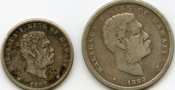 1883 Hawaii Set. 1/2 Half & 1/4 Quarter Dollars