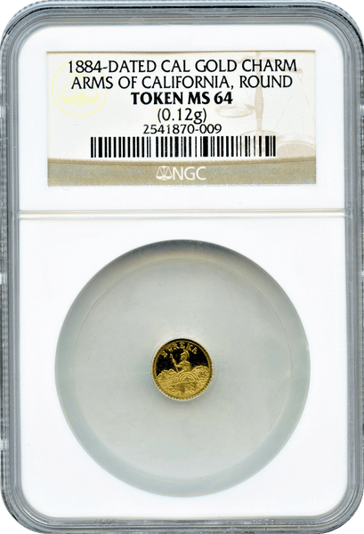 "1884 Arms of California Gold Charm NGC MS64 ""Herman Brand S.F. Pop 1 this size"""