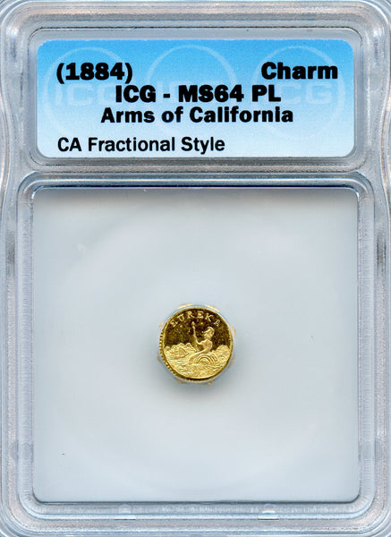 1884 Cal Gold Charm Arms of California ICG MS64PL