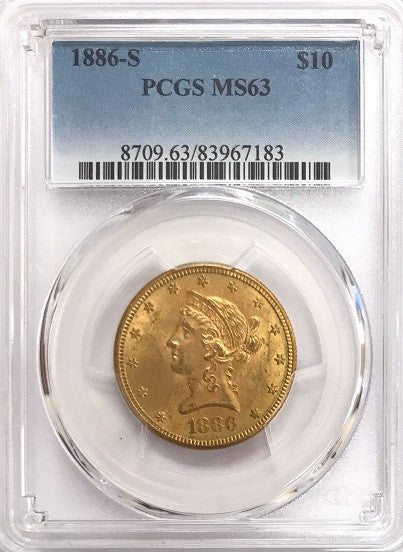 "1886-S $10.00 Gold Liberty PCGS MS63 ""Semi-Lustrous"" ""180 Degree Reverse Rotated Die"" ""S Mint Mark to Left Under Olive Branch on Reverse"""
