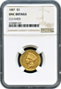 1887 $3 Indian Princess Head. NGC Unc Details