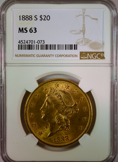 1888-S $20 Gold Liberty NGC MS63   Double Eagle