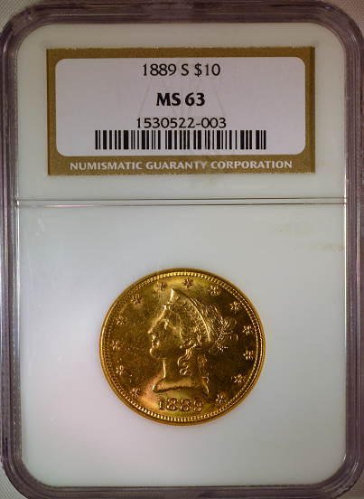 1889-S $10 Gold Liberty NGC MS63