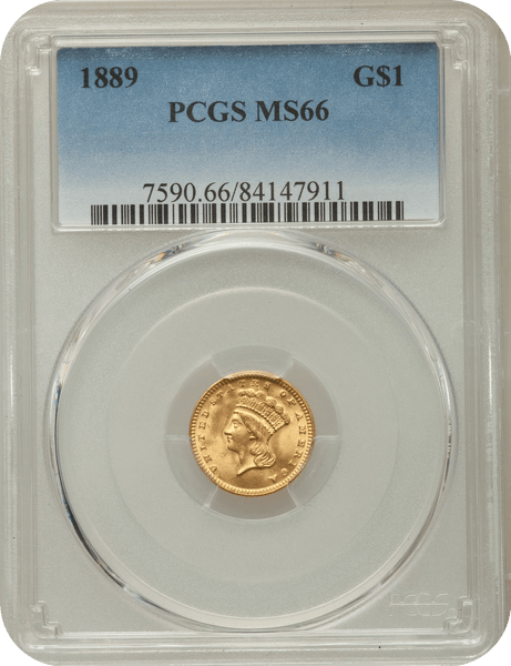 "1889 Gold $1 Large Head Indian Princess PCGS MS66 ""Lustrous"""