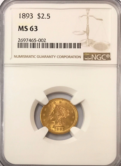 1893 $2.50 Gold Liberty NGC MS63