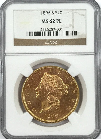 "1896-S  $20.00 Gold Liberty NGC MS62PL ""Sharp, Blasty, Lustrous"" ""Only 1 Coin in PL One Grade Higher"" ""Tied for 2nd Finest Known"""