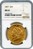 1897 $20 Gold Liberty Head NGC MS61