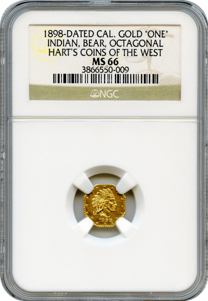 "1898 California Gold ""ONE"" Octagonal Indian NGC MS66"