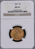 1899 $5.00 Gold Liberty NGC MS62  P.Q.