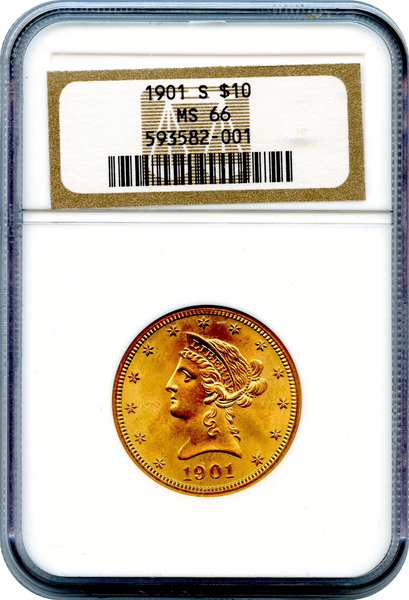 (75) 1901-S $10 Gold Liberty NGC MS66