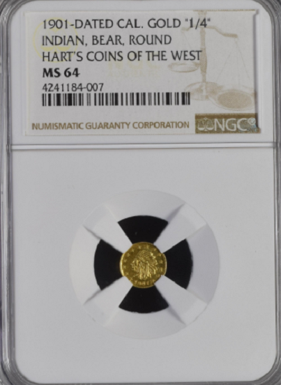 "1901 Cal Gold 25c Round NGC MS64 ""Rarity 7""  ""(7-9)""  "" Graded High Rarity 7 Only 5"""