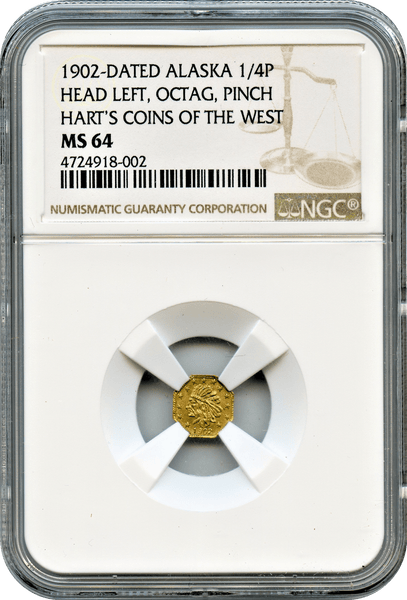 1902 Alaska 1/4 Pinch, Head Left, Harts Coins of the West NGC MS 64