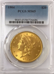 1904 $20.00 Gold Liberty PCGS MS65