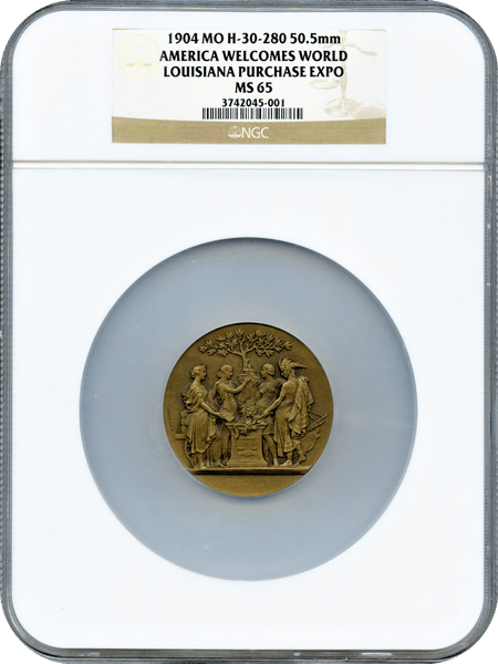 1904 H-30-280 50.5mm America Welcomes World Louisiana Purchase Expo NGC MS65