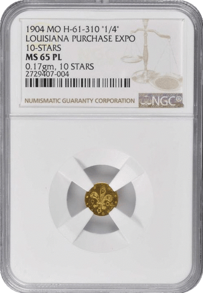 1904 L.P. 25c GOLD NGC MS65PL