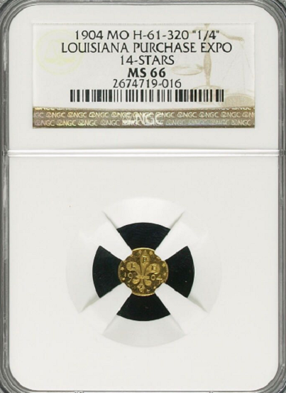 "1904 L.P. Expo Die State 1 NGC MS66 ""HR 5"" ""35 in all grades"" ""Tied for 2nd Finest"" ""2 in 66, 1 in 67"" ""Only 1 coin 1 Grade Higher"""