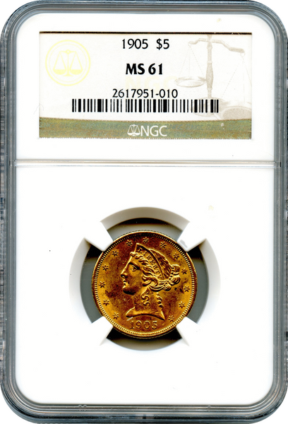 (77) 1905 $5 Gold Liberty NGC MS61