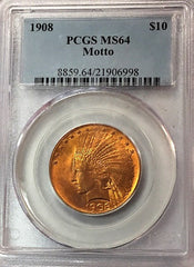 1908 MOTTO $10.00 Gold Indian PCGS MS64