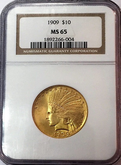 1909 $10.00 Gold Indian NGC MS65 RARE DATE!
