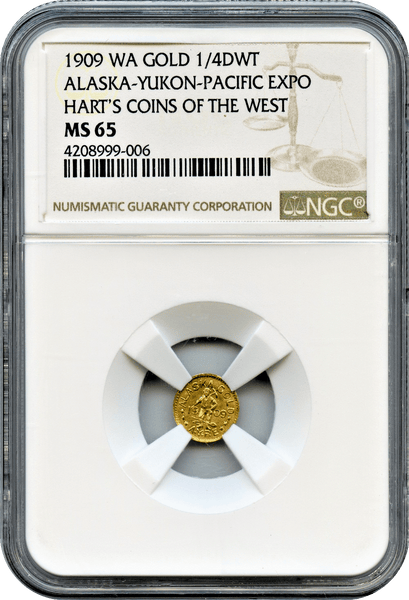 "1909 A.Y.P.E. Gold 25c NGC MS65 ""Tied for 3rd Finest"" ""Only Available at 1909 Seattle World's Fair in Person"""