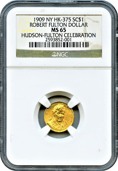 1909 NY HK-375 Hudson/Fulton Celebration. Fulton Gold $1 NGC MS65